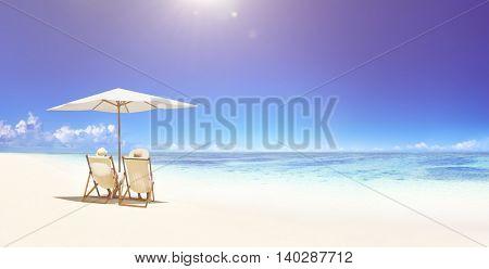 Couple Relaxing Tropical Beach Concept