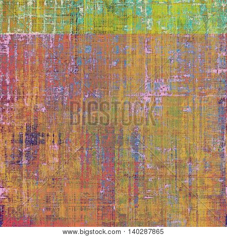 Old style decorative composition or designed vintage template with textured grunge elements and different color patterns: yellow (beige); brown; green; blue; red (orange); cyan