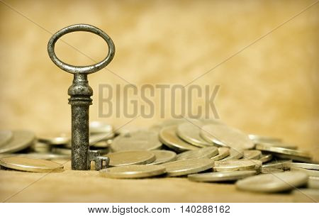 Success story concept - money and key background