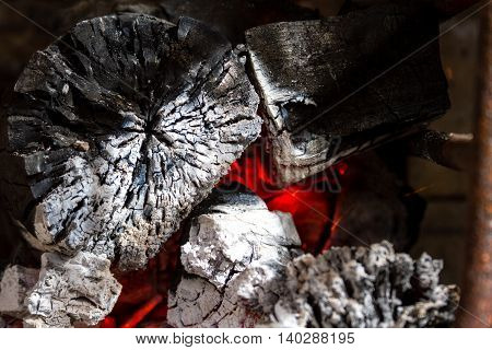 Red Hot Wood Embers Detail In Fire Place
