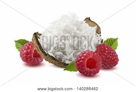 Shredded coconut shell raspberry isolated on white background as package design element