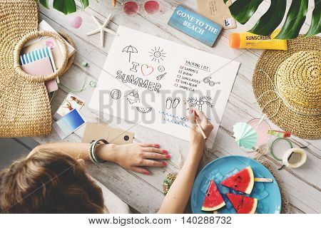 Summer Vacation Relax Drawing Diary Concept