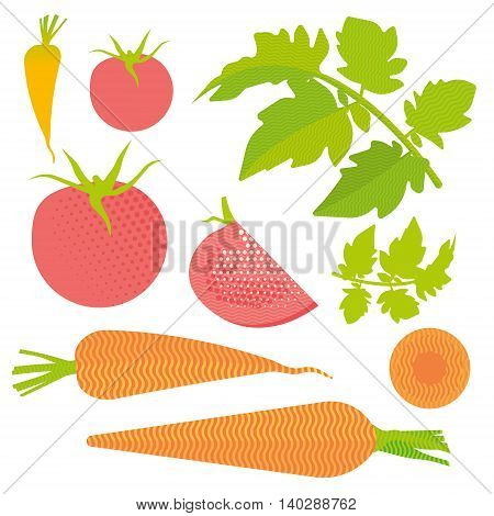 Fresh tomato and carrot set: isolated and cut, leaves, flat illustration