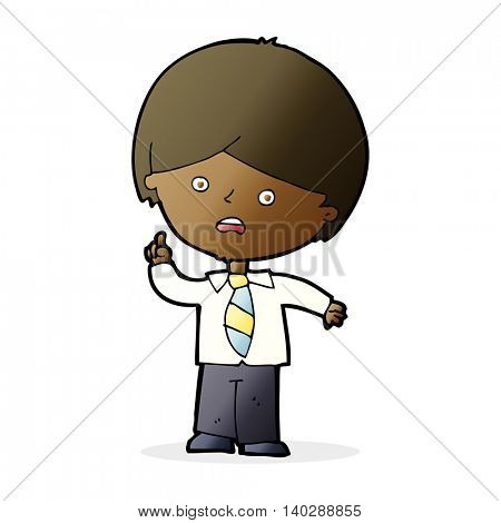 cartoon worried school boy raising hand