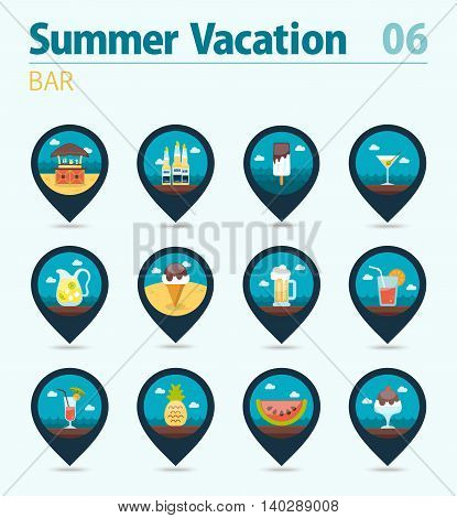Bar beach vector pin map icon set. Summer time Map pointer. Map markers. Vacation eps 10