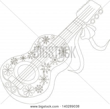 Zentangle, stylized black and white guitar, hand drawn, vector illustration