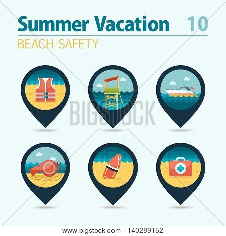 Lifeguard beach safety vector pin map icon set. Summer time Map pointer. Map markers. Vacation eps 10