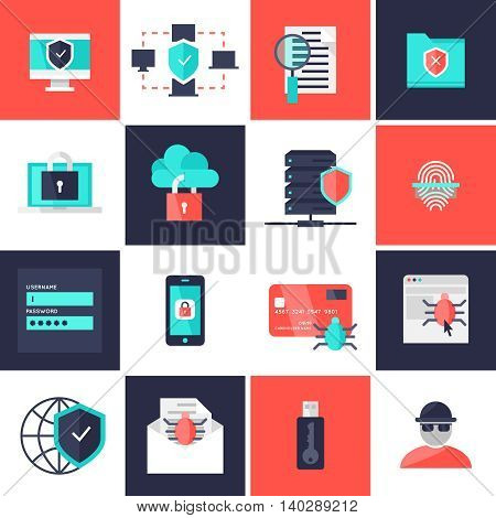 Data protection flat icons set with safe network antivirus fingerprint scanner hacker email account isolated vector illustration