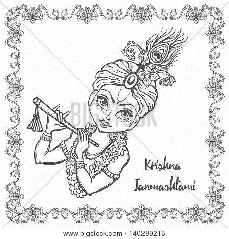 Ornament card with Lord Krishna birthday. Illustration in vector art. Happy Janmashtami Day Hindu.