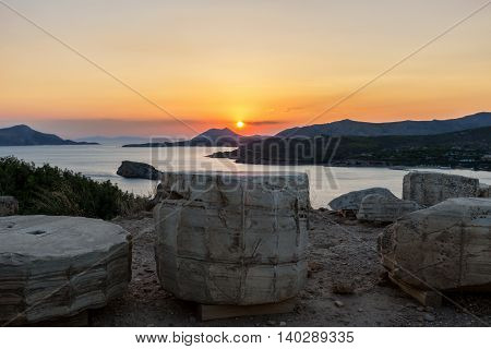 Sunset over the Temple of Poseidon at Sounio, Greece