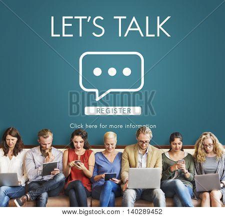Let's Talk Online Conversation Message Concept