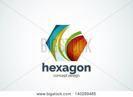 Hexagon logo template, cell concept - geometric minimal style, created with overlapping curve elements and waves. Corporate identity emblem, abstract business company branding element