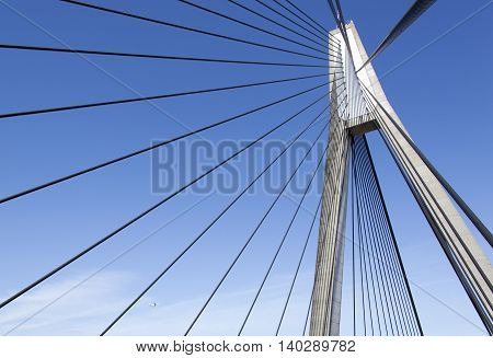 The top of cable-stayed Anzac Bridge in Sydney (New South Wales Australia).