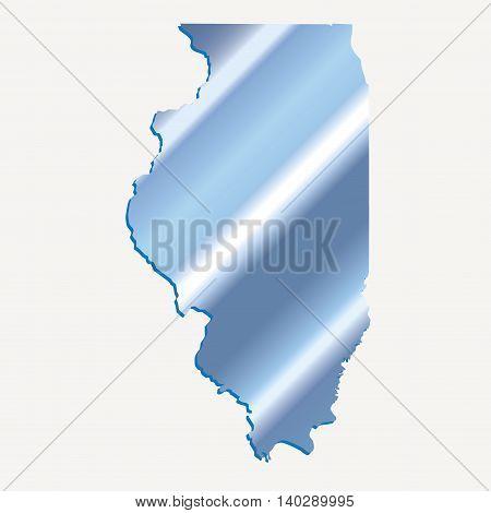 3D Illinois State USA Iridium Blue outline map