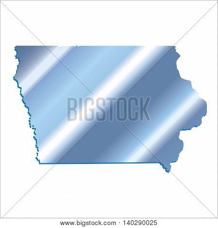 3D Iowa (USA) Iridium Blue map with shadow