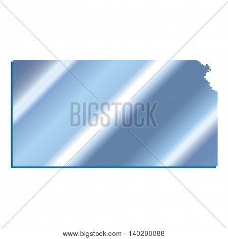 3D Kansas State USA Iridium Blue outline map