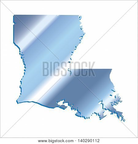 3D Louisiana (USA) Iridium Blue outline map with shadow