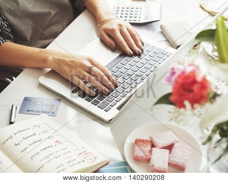 Woman Working Workspace Using Laptop Desk Concept