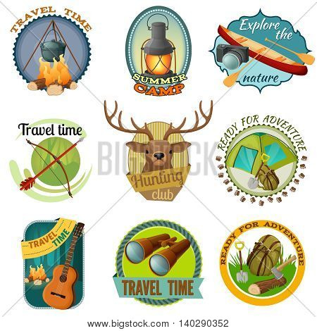 Camping colorful emblems with tent binoculars guitar lantern boat bonfire backpack axe shovel camera isolated vector illustration