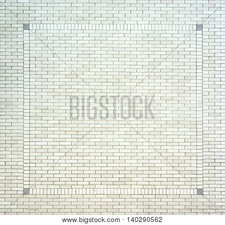 white brick square border wall background texture