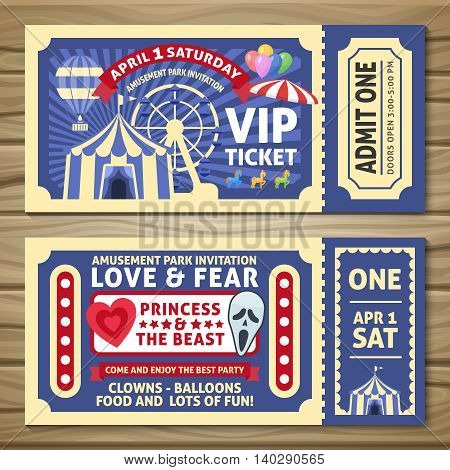 Amusement park tickets with red ribbons circus tent balloons on wooden background isolated vector illustration