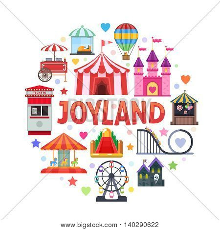 Amusement park round design with attractions ticket booth circus tent street food on white background vector illustration