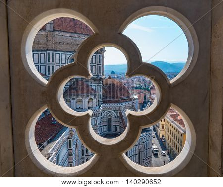 VENICE, ITALY - JULY 4: Florence Cathedral from a window Giotto's Campanile or bell tower