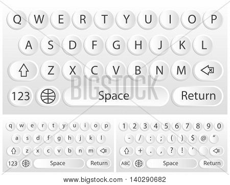 White vector virtual keyboard for a smartphone.