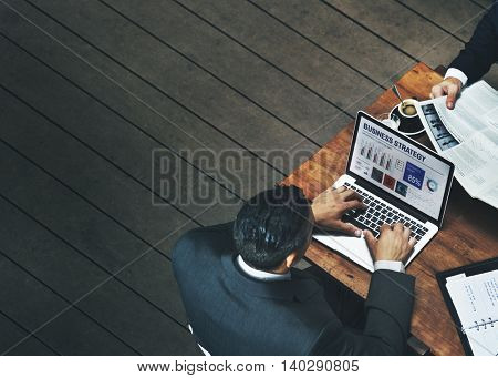Businessmen Working Cafe Coffee Laptop Concept