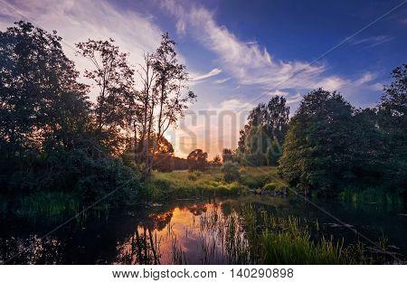 Evening the small Bay on the river Zelenka