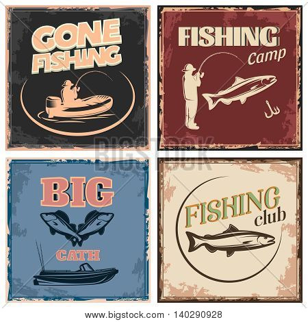 Fishing retro compositions with icon set and gone fishing fishing camp big catch descriptions vector illustration
