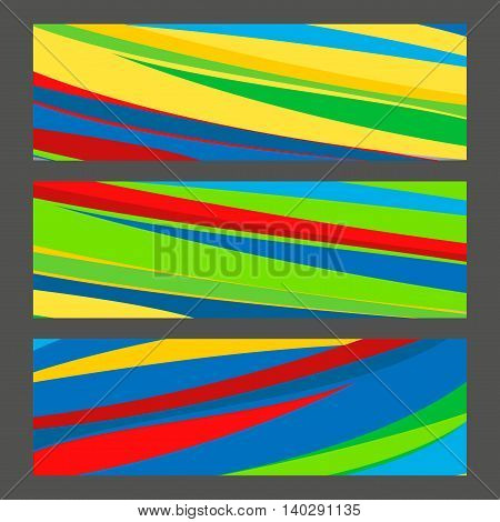 Set banners in colors of Brazil flag. Vector color concept.