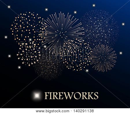 Golden Firework Show On Night Sky Background. Vector Illustration