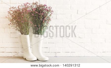 Rainboots Flower Creativity Concept