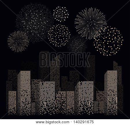 White Firework Show On Night City Landscape Background. Vector Illustration
