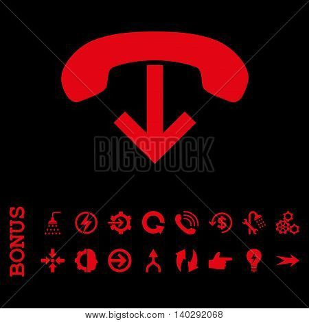Phone Hang Up glyph icon. Image style is a flat pictogram symbol, red color, black background.