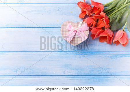 Fresh coral tulips and box with present in form of heart on blue painted wooden background. Selective focus. Place for text. Flat lay.