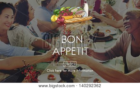 Bon Appetit Delicious Dining Eating Beverage Concept