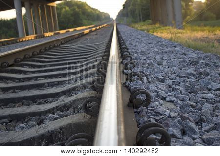 railway rails leaving afar at sunset of a summer day