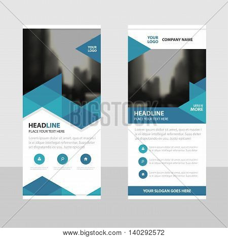 Blue triangle Business Roll Up Banner flat design template Abstract Geometric banner template Vector illustration set abstract presentation brochure flyer template vertical template vector