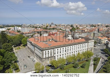 PORTO, PORTUGAL - AUGUST 7, 2015: Building of the University seen from Clerigos Tower in Porto Portugal