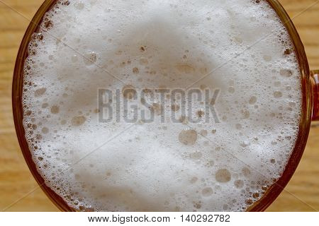 beer foam with bubbles closeup shot, abstraction