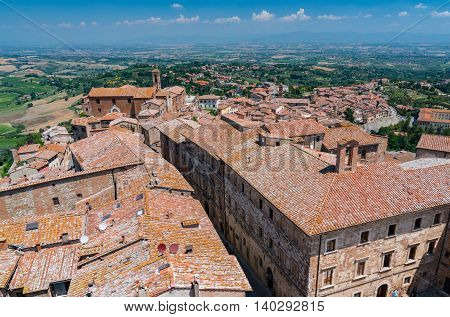 MONTEPULCIANO, ITALY - JULY 7: Aerial view from the tower of the Palazzo Comunale of the village of Montepulciano Italy on July 7, 2016.