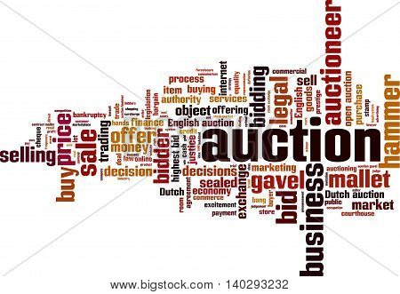 Auction word cloud concept. Vector illustration on white