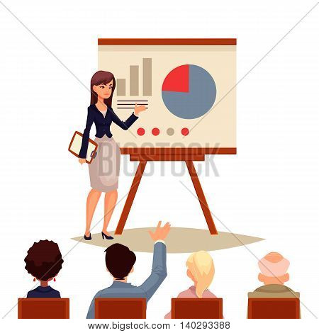 Businesswoman giving presentation with a board, sketch style vector illustration isolated on white background. Confident female manager and flip chart with pie graph and infographic to group of people