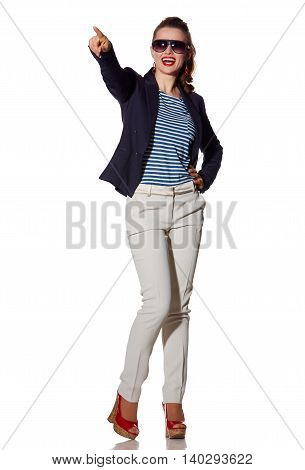Smiling Young Woman Pointing On Copy Space On White Background