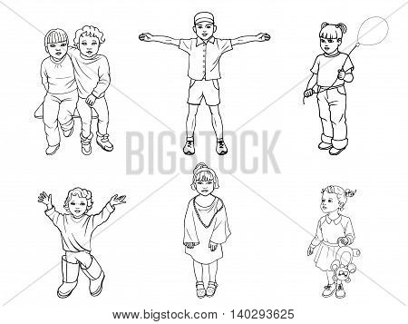 Vector illustration of a set of children. Doodle picture on an isolated white background. The concept of the protection of children.
