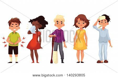 Set of sick children cartoon style vector illustration isolated on white background. Kids, boys and girls, having cold, running nose, stomach ache, broken leg and chickenpox