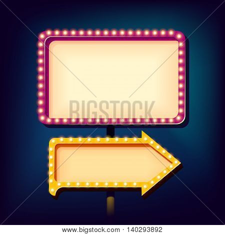 Street advertising billboard retro. Realistic 3d sign with neon lights. Blank light background for your text, publicity, promotion. The frame and arrow box. illustration