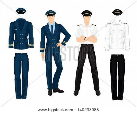 Vector illustration of aviation uniform isolated on white background. Pilot in navy blue suit with gold ribbon.